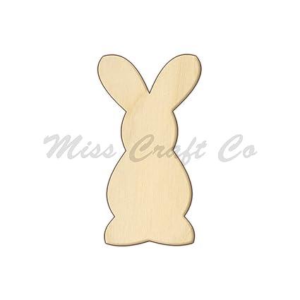 Amazoncom Bunny Wood Shape Cutout Wood Craft Shape Unfinished