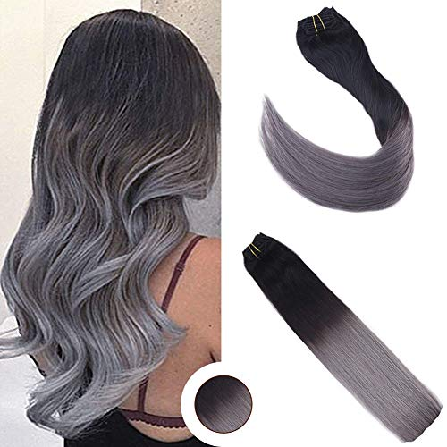 [Big Promotion] Ugeat 20inch Balayage Ombre Clip in Remy Hair Extensions Brazilian Hair Grade 7A Ombre Color #1B Fading to Silver Grey Clip Hair Extensions 120 Gram 7Pcs ()