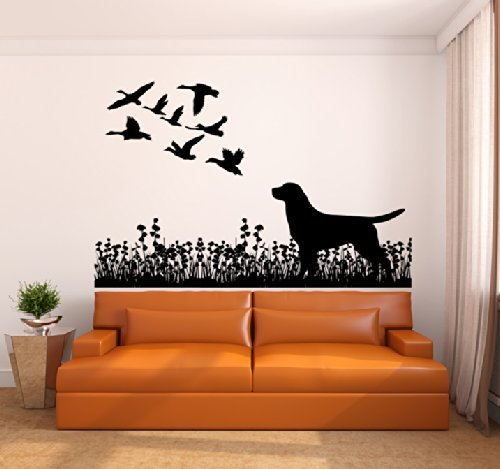 - Labrador Dog and Ducks Silhouette Vinyl Wall Decal Sticker Graphic