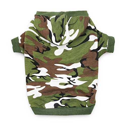 DroolingDog XS Dog Clothes Boy Dog Shirts Pet Dog Clothing Cat Costume Dog Camo Hoodie T Shirt for Small Dogs, XS, Green