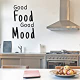 Vinyl Wall Art Decal - Good Food Good Mood - 23'' X 15'' - Fun Humor Wall Decal Stickers - Witty Stencil Adhesive Vinyl Saying For Kitchen Restaurant Home