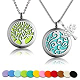 2 PCS Auzer Aromatherapy Essential Oil Diffuser Necklace with 316L Surgical Stainless Steel Pendant Locket 23.6-Inch Chain and 12 Oil Refill Pads (Lifetree + Auspicious Clouds)