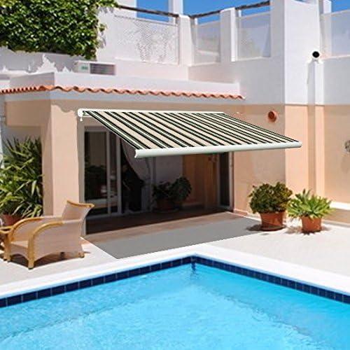 4, 5 x 3 m de casete Full Manual eléctrica diseño cilíndrico para toldo parasol multi-diseño de rayas Greenbay: Amazon.es: Jardín