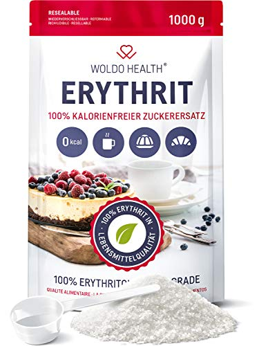 Erytritol 1kg suikervervanger zonder calorieën veganistisch & glutenvrij met 70% van de zoetkracht van suiker