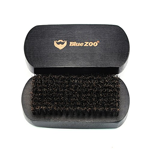 BlueZOO Beard Brush Mustache Comb for Men Grooming with 100% Boar Bristles – Made in Beech Wood with Firm Natural Hair