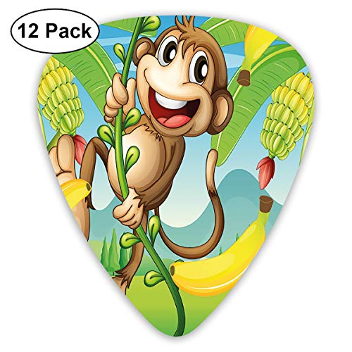 Guitar Picks - Abstract Art Colorful Designs,Two Monkeys Near The Banana Plant Tropical Nature Landscape Vine Funny Animals Apes,Unique Guitar Gift,For Bass Electric & Acoustic Guitars-12 -