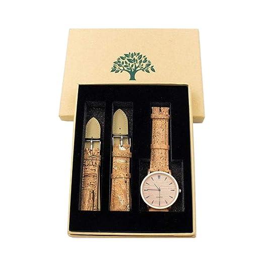 Reloj de Corcho Natural con Pulsera de Oro, Hecho a Mano Vegano, impermeabilización ecológica