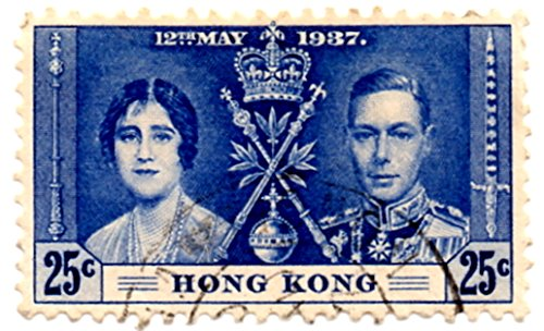 Hong Kong Postage Stamp Single 1937 King George VI Coronation Issue 25 Cent Scott #153