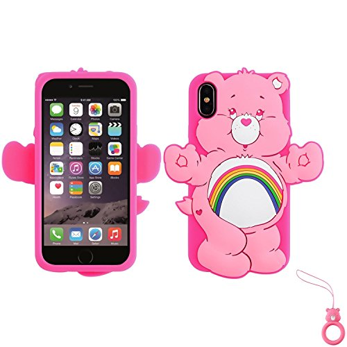 Artbling Case for iPhone X XS 10,Silicone 3D Cartoon Animal Cover,Kids Girls Cute Cases,Kawaii Soft Gel Rubber Unique Fun Cool Character Protective Protector+Finger Ring for iPhoneX/XS (Rainbow Bear)
