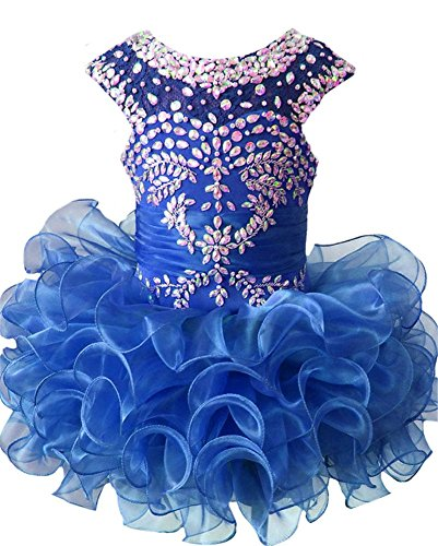 (G.CHEN ChengCheng Toddlers Girls Custom Made Pageant Cupcake Dress 2 US Blue)