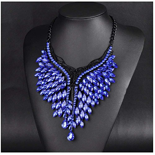 [Women Handmade Bib Pendant Crystal Statement Choker Necklace (blue)] (Tribal Costumes Of India)