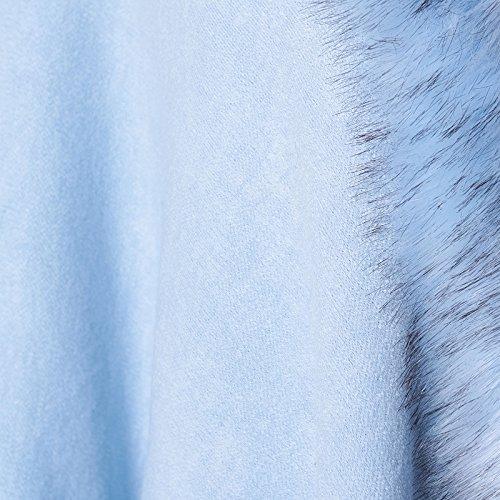 eco MForshop poncio Celeste giacca sp501 donna amd cappotto poncho mantella pelliccia gwT6wB