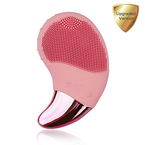 Benss Women's Silicone Facial Brush, Powered Facial Cleansing Brushes Device with Eyes Massage for All Skin, Electric Waterproof Rechargeable Face Scrub for Valentines Day Gifts ( Pink)