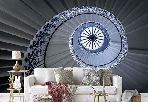 Papel Tapiz Fotomural - Escalera De Caracol Techo De Cristal Perspectiva - Tema Arquitectura - XXL - 416cm x 290cm (