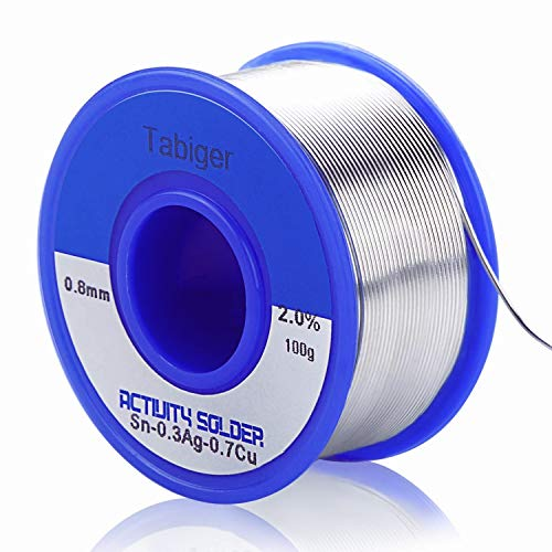 Tabiger Solder Wire, Lead Free Solder Wire with Rosin Core Solder Sn97 Rosin2 Cu0.7 Ag0.3 Tin Wire Solder for Electrical Soldering, 0.8mm, 0.22lbs (100g)