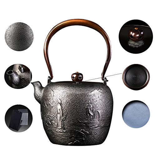 (Pure Handmade Retro Cast Iron Teapot 1200ML, Japan Household High Capacity Metal Tea pot, Oxidation Uncoated Inner wall, Copper handle, Copper pot lid, Hand Painted Pattern, for Tea Bags)