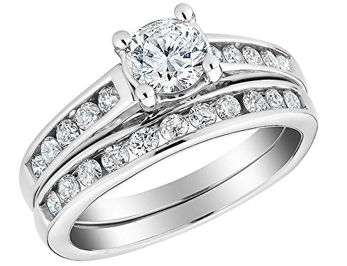 1/2 Carat Round Cut Natural Diamond Engagement rings for women with a band in 10K Solid Gold - Band Round Diamond Engagement Ring