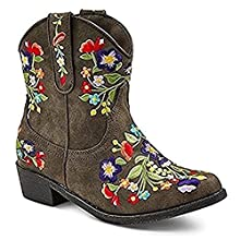 Girls' Betseyville Reece Floral Embroidered Cowboy Boots - Stone (11, Stone)
