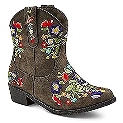 Girls' Betseyville Reece Floral Embroidered Cowboy Boots - Stone (5)