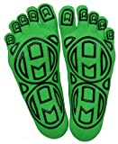 Mato & Hash 5-Toe Exercise 'Barefoot Feel' Yoga Toe Socks With Full Grip Bright Green S/M