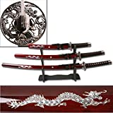 Best Sword Set With Stands - Ace Martial Arts Deluxe Red Dragon Katana Samurai Review