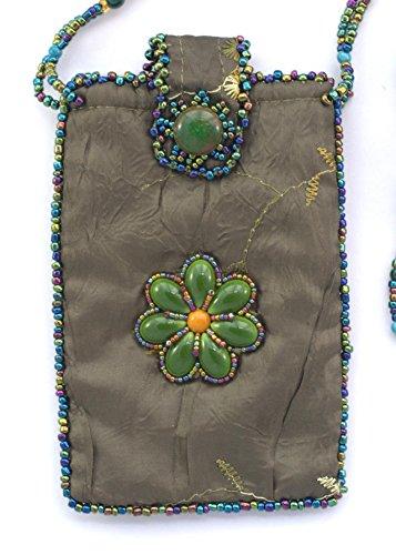 Tasche aus Seide für Handy Blume–Kugeln von Glas und Porzellan - Khaki fxFitA31WQ