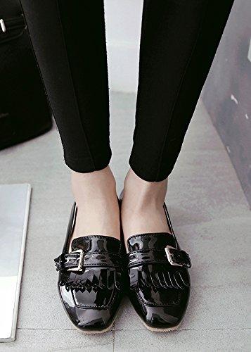 Aisun Women's Comfy Tassels Buckle Slip On Loafers Black FbdKzb