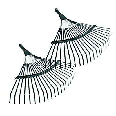 Yardwe 2pcs Garden Leaf Rake Carbon Steel 22-Teeth Poly Shrub Grass Rake with Wood Handle for Lawn Yard Quick Clean Up (Random Color) : Garden & Outdoor