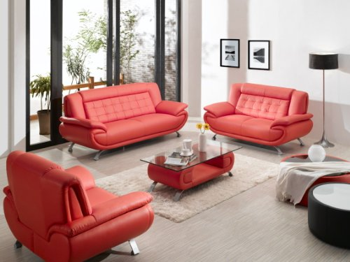 2906   Red Sofa Set With Coffee Table