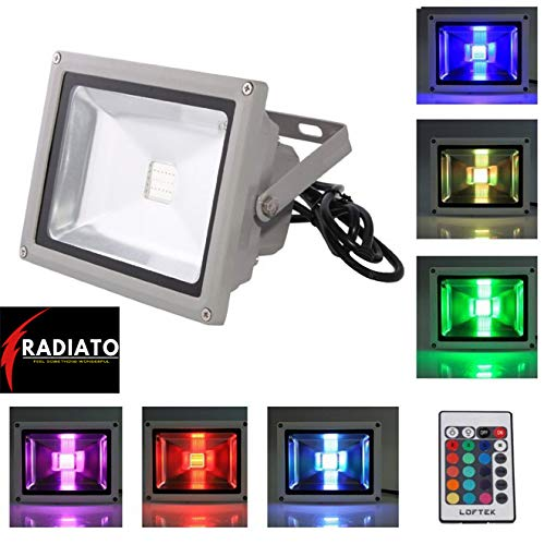 Radiato ES RGB LED Waterproof Remote Control Floodlights Colour Changing Lights (Multicolour)