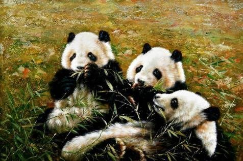 Perfect Effect Canvas ,the Reproductions Art Decorative Canvas Prints Of Oil Painting 'Cute Pandas', 20x30 Inch / 51x76 Cm Is Best For Laundry Room Artwork And Home Decor And Gifts (Star Girl Canvas Reproduction)