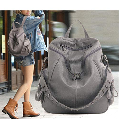 Amazon.com: Multifunction Backpacks Women Bookbags Rivet Leather School Backpack Lady Shopping Bags: Clothing