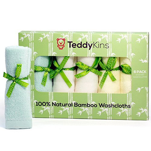 Teddykins Bamboo Baby Washcloths/Wipes, Organic, Extra Soft, Reusable Baby Towels for Sensitive Skin and Eczema, for Newborn Gift, Baby Shower, Baby Registry, Large, Pack of 6