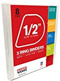 3 Ring Binders, 0.5 Inch Slant-D Rings, White, 8 Pack,  Clear View, Pockets
