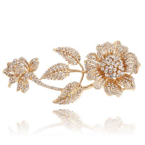 EVER FAITH Women's Austrian Crystal Graceful 3 Leaves Daisy Flower Bud Brooch Clear Silver-Tone by EVER FAITH