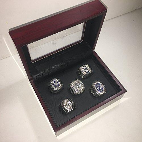 Set of 5 Dallas Cowboys Super Bowl VI, XII, XXVII, XXVIII, XXX Replica Ring W/Box-Various Sizes Silver Color Collectible 1971 1977 1992 1993 1995 Aikman, Staubach, Irvin USA - 1992 Super Dallas Cowboys Bowl