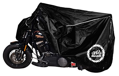 Premium Weather Resistant Motorbike Cover. Waterproof High Grade Polyester w/Soft Screen, Heat Resistant Shield. Lockable fabric, Durable & Long Lasting.Fits Sport bike, Cruiser, Touring (xxl, blk)