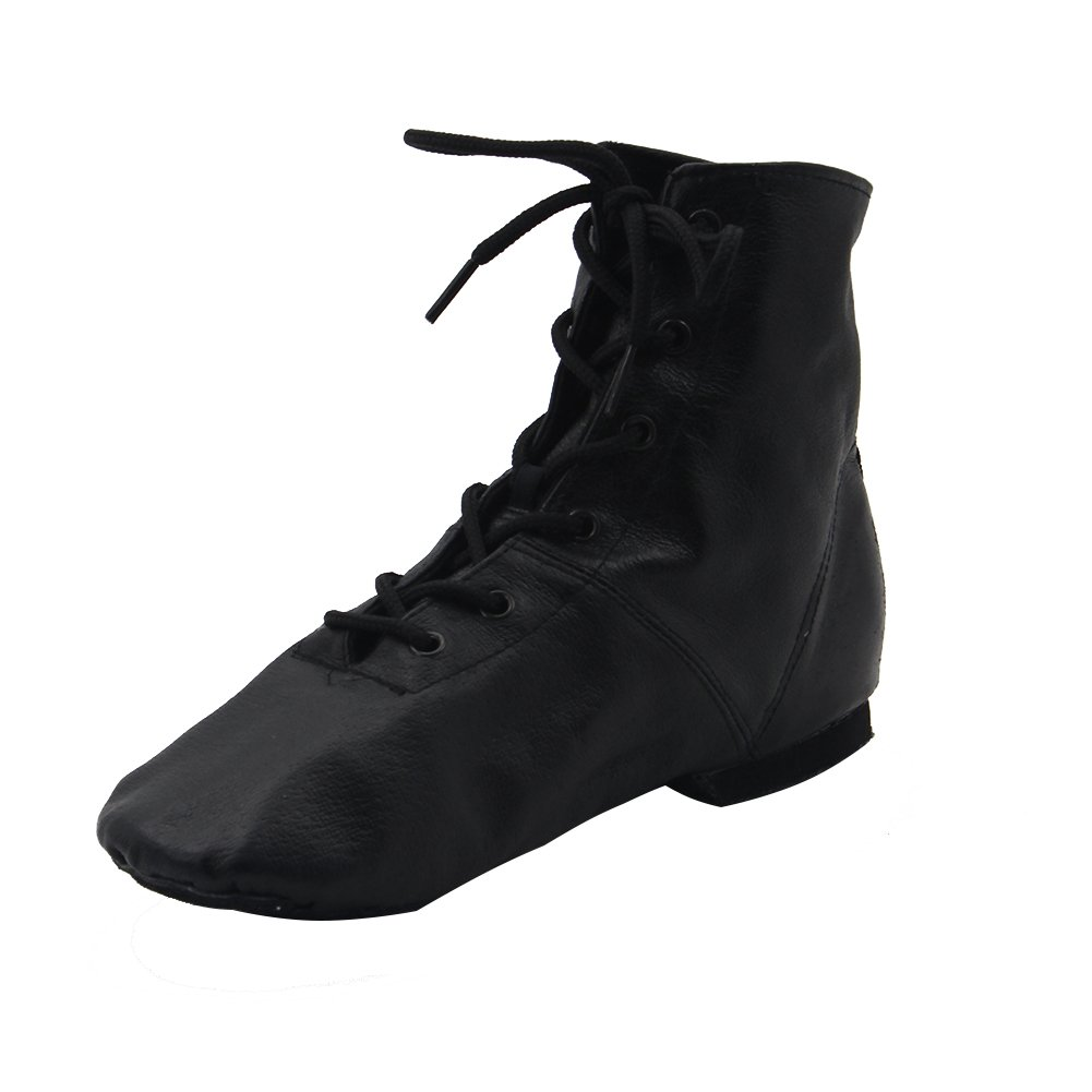 MSMAX Leather Women's Lace-up Jazz Dance Boots Black,9 M US