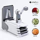 ScharfPro Folding Vegetable Spiralizer - Three Blades - Compact and Heavy-Duty Spiral Vegetable Slicer - Turn Zucchini, Carrots, Potatoes and much more into Beautiful Long Strands (Gray)