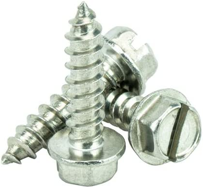 #12 x 2-1//2 Hex Washer Head Sheet Metal Screws Self Tapping 18.8 Stainless Steel Full Thread Qty 100 by Bridge Fasteners