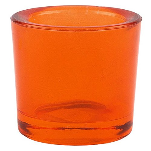 Bluecorn Beeswax Heavy Glass Votive and Tea Light Candle Holders (1, (Orange Candle Holders)