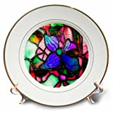 3dRose cp_66277_1 Stained Glass Window Look Vibrant Colors-Porcelain Plate, 8-Inch