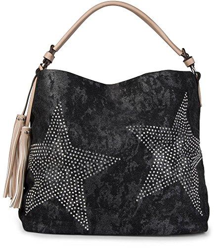 02012035 Black Schwarz Shoulder Star Vintage Bag Shimmering Women's Jeans with styleBREAKER Hellbraun Bag Diamond wxZqppS