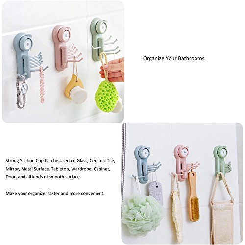 Suction Cup Hooks, E-BAYKER Powerful Vacuum 6 in 1 Holder Utility Hooks Home Kitchen Bathroom Wall Removable Hanger Organizer for Towel Bathrobe Loofah Cloth Key Women's Handbag (3 Pack) by E-BAYKER (Image #2)