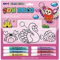 Amos Sd10B6-D2 Cam Boyama Seti Sun Deco 10.5Mlx6 3 Pleksi, 6 Renk