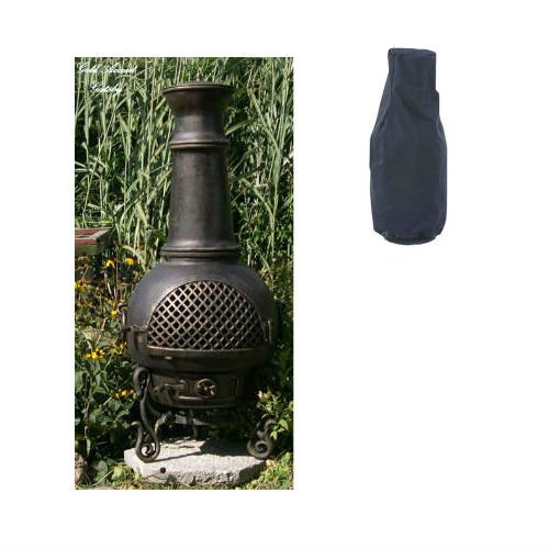 Blue Rooster Gatsby Style Wood Burning Outdoor Metal Chiminea Fireplace Gold Accent Color with Large Black Cover