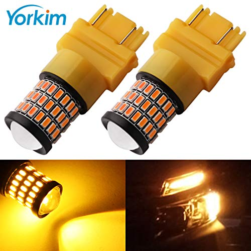 Yorkim Super Bright 3157 Amber LED Bulb, 3157 LED Brake Lights, 3157 LED Backup Reverse Lights, 3156 LED Tail Lights, Turn Signal Bulb with Projector - 3056 3156 3057 3157 4157 LED Bulbs, Pack of 2