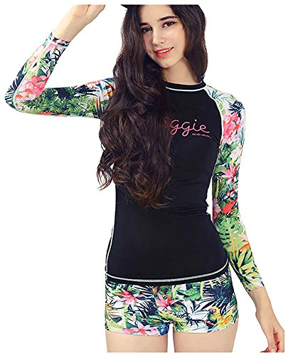 Ilishop Women's Fashion Print long Sleeve UV Protection Rash Guard Swimwear Black US4