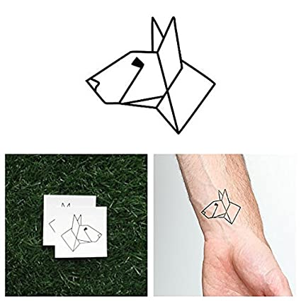 Tatuaje Temporal Tattify - Perro de origami - Spike (juego de 2)