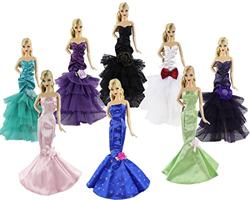 [5 x Random Diffirence Style Fashion Clothes/Outfit/Dress For Barbie Doll N02] (Thumbelina Wig)